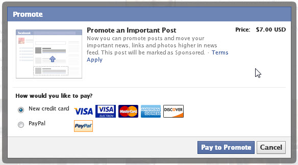 Promoting your restaurant - Promote a post on Facebook