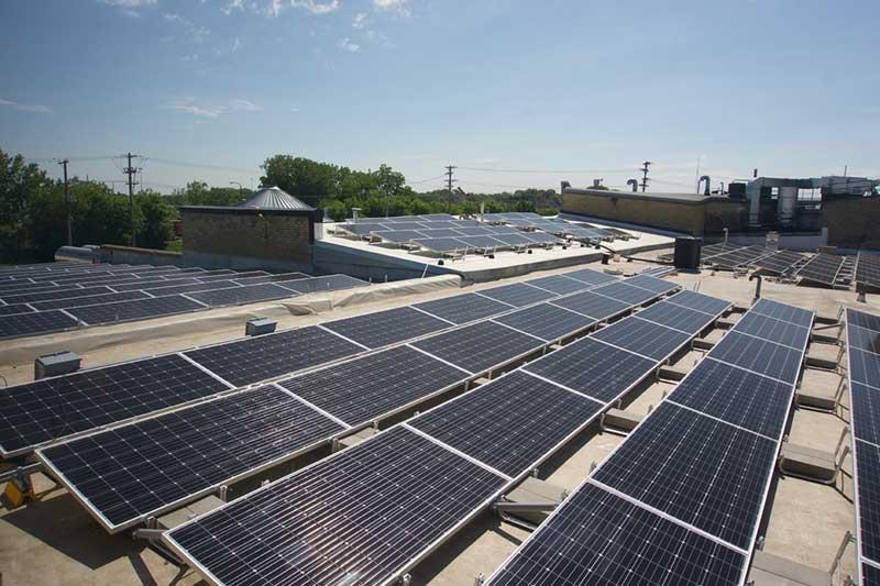 solar panels - deneen pottery rooftop